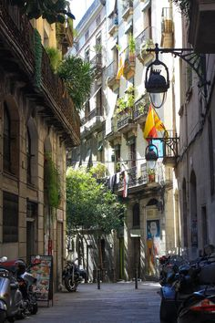 Street In The Old Town, Gothic Quarter, Barcelona, Catalonia.