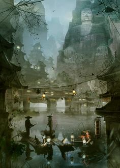 Chinese dawn by José Julián Londoño Calle Fantasy City, Fantasy Places, Fantasy Kunst, Fantasy World, Fantasy Art Landscapes, Fantasy Landscape, Fantasy Artwork, Art Chinois, Matte Painting