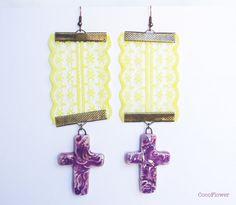 Long Yellow lace Purple #cross earrings / Madonna by CocoFlowerShop