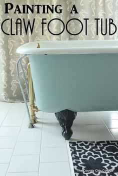 a Claw Foot Tub Painting a Claw Foot Tub -- ever wondered how to paint your claw foot tub? Here are the answers!Painting a Claw Foot Tub -- ever wondered how to paint your claw foot tub? Here are the answers! Upstairs Bathrooms, Downstairs Bathroom, Small Bathroom, Master Bathroom, Ikea Bathroom, Boho Bathroom, Attic Bathroom, Bathroom Shelves, Clawfoot Tub Bathroom