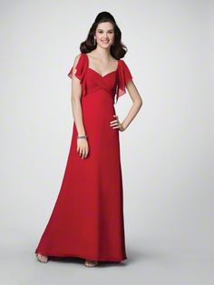 Chiffon  Sweep Train  Featured Color: Cherry  Colors: 60 Dream in Color Shades  Sizes: 0 to 26W, 8JB to 14JB