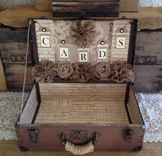 Vintage Suitcase Wedding Card Holder Shabby Chic Wedding Rustic Country Wedding #vintagesuitcasewedding On Sale....Regular Price $199....Sale Price $175  This card box is a rugged vintage suitcase that measures approx. 21 x 13.5 x 7 and is