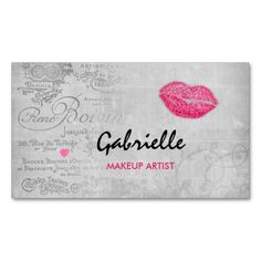 Elegant white emblem on gold glitter background business cards girly vintage grunge pink lips kiss makeup artist business card reheart Image collections