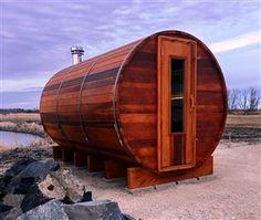 Barrel sauna - Order the best quality and hand crafted cedar barrel saunas. Our cedar barrel saunas using the finest Canadian western red cedar. Sauna Heater, Dry Sauna, Saunas, Sauna Kits, Sauna Benefits, Sauna Accessories, Indoor Sauna, Barrel Sauna, Sauna Design