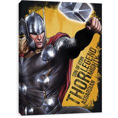EntertainArt Thor 'Mighty Asgardian' Gallery Wrapped Canvas ($19) ❤ liked on Polyvore featuring home, home decor, wall art, motivational wall art, inspirational canvas wall art, inspirational home decor, inspirational wall art and motivational canvas wall art