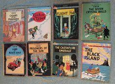 Lot 8 Vintage Hergé Tintin Paperback Books American Edition © 1975 Graphic Comic