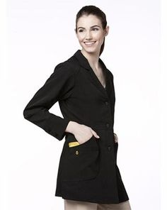 Scrubs Women's Stretch #Lab Coat in BLACK. A great staple for interpreters to carry around, the lab coat in dark color for complexion contrast (for those with light skin. White coats are so common) can help you protect yourself and clothing but also keep you dressing similarly to staff and thus represent your profession appropriately $30