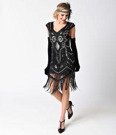 1920s Cocktail Party Dresses Vintage Style Black  Silver Sequin Cap Sleeve Fringe Flapper Dress $88.00 AT vintagedancer.com