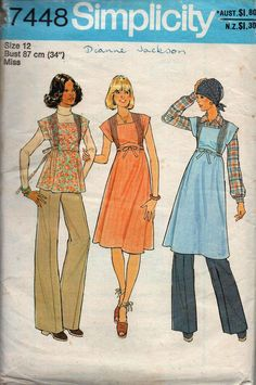 1970s Simplicity 7448 Jumper Dress Top & Pants Vintage Sewing Pattern Size 12 Bust 34 inches