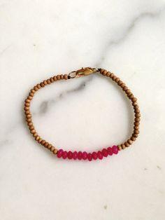 Sammi hot pink quartz and wood beaded bracelet by SEWjewelry, $28.00
