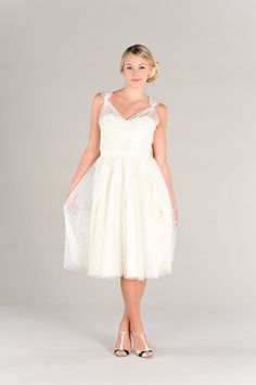 Short Wedding Dress Polka Dots Vintage 50s by PureMagnoliaCouture