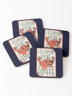 I Flippin Love Coffee Cute Funny Dog Coasters.  Love coffee and dogs? This design is for you. How can you start the day without a cup of coffee and a hug from your dog. A awesome design for the coffee lover and pet lover in your life.  #coffee #caffeine #coffeebreak #mug #coffeeplease #dog #doglover #puppy #petlover #giftideas #fashion #homedecor #artsandcrafts #redbubble #art #redbubblecommunity #redbubbleshop #ad @giftsbyminuet House Sitting, Cute Funny Dogs, Start The Day, Dog Design, Coffee Cups, Dog Lovers, Coasters, Cool Designs, Arts And Crafts