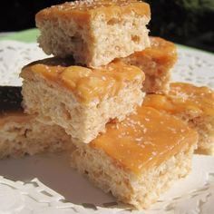 "Salted Caramel Marshmallow Crispy Treats (Gluten Free) | ""Holy cow! This is so good! I have not made regular rice crispy treats since. The recipe is not difficult, and oh so good! My son and his college friends request this all the time. Thanks for a great variation on a classic recipe."""