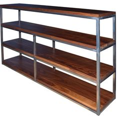 Floating Walnut and raw steel bookcase by Fabitecture on Etsy, $1900.00. I bought this!!