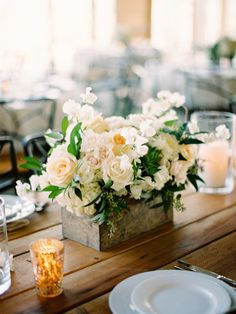 Wood box look | STEMS Floral Design + Productions | Barr Mansion | Stephanie Hunter Photography | Austin, TX Wedding | Austin Florist | Classic White Wedding