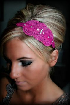 Fuschia Rhinestone Beaded Headband