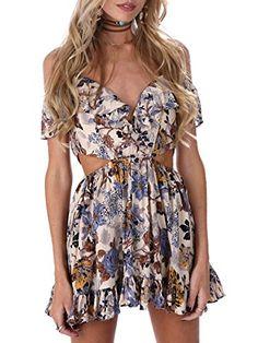 Simplee Apparel Women's Lace up Halter Off Shoulder Floral Print Party Dress Sundress