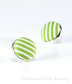 Green Stud Earrings, White Stripes Fabric Button Jewelry, Silver Toned Earring Studs, Country Earring Posts, Gift for Quilters, Gift for Her