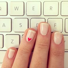 #nails #manicure #heart  Ballet Slippers and Watermelon by essie