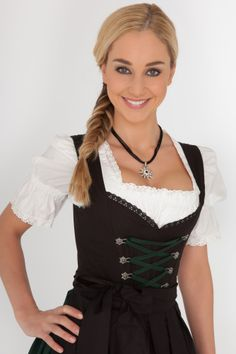 Traditional yet sexy. The dark colours and cheeky length make this dirndl rather seductive. The miniskirt shows off your great legs, but the dirndl still upholds a look of elegance. The skirt is dark green, whilst the bodice and apron. Dirndl Dress, Blouse Dress, Oktoberfest Outfit, Black Apron, Beer Girl, Maid Dress, Great Legs, Fashion Mode, Lingerie