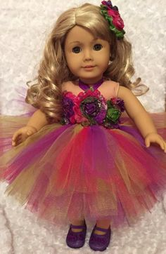 American Girl Purple, Pink & Lime Green Tutu Dress + Purple Shoes + Shabby Hair Clip Fits 15 inch or 18 inch doll / Doll Flower Girl Gifts by mydollydreamboutique on Etsy