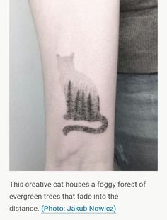 pine trees in foggy cat silhouette tattoo