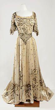 French silk, metallic, glass evening dress  c 1901-05 Jeanne Hallee