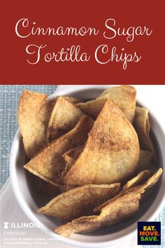 So easy!  Great after school snack, just spray with cooking spray sprinkle with cinnamon sugar and bake! #chips #cinnamonsugar #snacks #afterschoolsnackideas