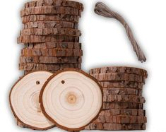 50 Pack Natural Raw Edge, Predrilled Holes for Hanging Arts, Crafts, Hobby Ornaments, Wed Pallet Backdrop, Photo Booth Backdrop, Willow Wood, Hanging Ornaments, Hanging Decorations, Jute Twine, Backdrops For Parties, Wood Slices, Hanging Art