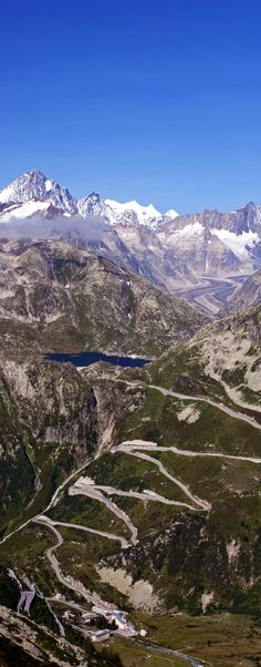 Scenic View of the switchbacks of the Grimsel Pass, Switzerland