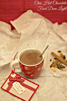 The perfect  gift for a neighbor or teacher Chai Hot Chocolate Mix in a cute mug www.fooddonelight.com #reciperedux
