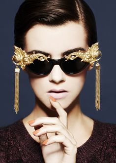 Gold Encrusted Gilded Flordia Accents With Draping Framing Gold Tassels. Incredible Designed Sunglasses! More