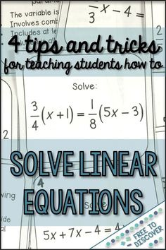 Learn 4 tips and tricks for teaching middle school and high school math students how to solve linear equations. My students love this unit when we add a little humor and make learning relevant and meaningful. By Free to Discover. Online Math Courses, Learn Math Online, Online Quizzes, Math Tutor, Teaching Math, Teaching Tips, Teaching Strategies, Gcse Math, Solving Linear Equations