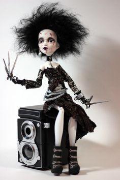 Edwina Scissorhands OOAK Monster High Altered Art Repaint Doll Goth Emo Fantasy | eBay