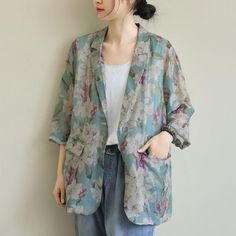 Loose Seven-Quarter Sleeve Printed Casual Short Jacket Floral Sleeve, Quarter Sleeve, Classy Outfits, Types Of Sleeves, Daily Fashion, Coats For Women, Your Style, Casual Shorts, Kimono Top