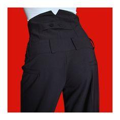 Pantalon femme noir large, taille très haute