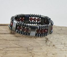 Unisex Magnetic Triple Bracelet Garnet Top Quality Brazilian Magnetite Loadstone birthstone January relapsing Polychondritis arthritis by MagnetiteJewelry on Etsy