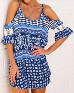 robe floral épaule dénudé à bretelle -bleu  12.58
