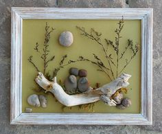 "Pebble Art Couple in the outdoors set in an ""open"" 8x10 wood frame by CrawfordBunch on Etsy"