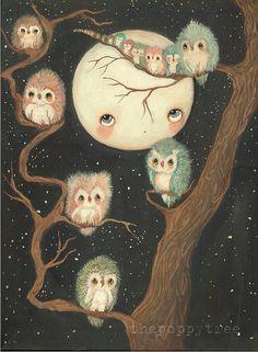 Owl Print Owls In A Tree Nursery Art Bird Moon Wall Art ---Night Awake LARGE PRINT 11 x 14