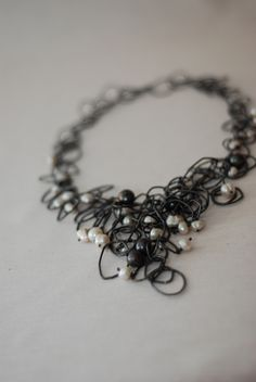 cascata oxided silver pearls by Claudia Parrilli