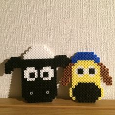 What a clever idea!  Shaun and Bitzer made with perler beads by Ryuto Nakazono
