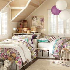 I also love this if you have to have two of your kids share a room... love the storage, too!