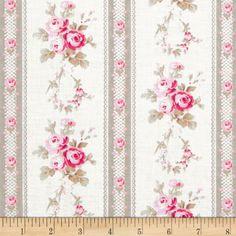 Petal Antique Ticking Rose Ivory $7.82/y Designed by Tanya Whelan for Free Spirit Fabrics