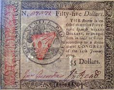 A continental currency bill issued in South Korea Photography, Old Money, American Revolutionary War, Nature Prints, Irish Men, Coin Collecting, Revolutionaries, American History, Banknote