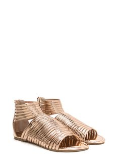 4b6aaa76d09fe3 Stacked In Your Favor Metallic Sandals ROSEGOLD