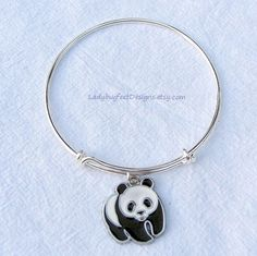 PANDA Lover's Bracelet ADJUSTABLE Wire Charm by LadybugfeetDesigns