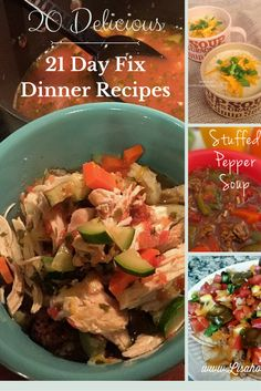 21 delicious 21 Day Fix dinner recipes. Also great for Whole 30 and Clean Eating!