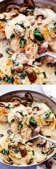 Gourmet Mushroom Recipes – Healthy Dishes for the Whole Family - Typical Miracle Turkey Recipes, Chicken Recipes, Dinner Recipes, Dinner Ideas, Poulet Au Riesling, Jai Faim, Stuffed Mushrooms, Stuffed Peppers, Garlic Mushrooms