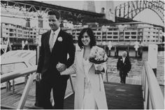 Bride and groom arrive at their Sydney Harbour wedding reception, flanked by the Harbour Bridge Harbor Bridge, Sydney Wedding, Photo Credit, Wedding Reception, Photo Ideas, Wedding Cakes, Wedding Photos, Groom, Dance